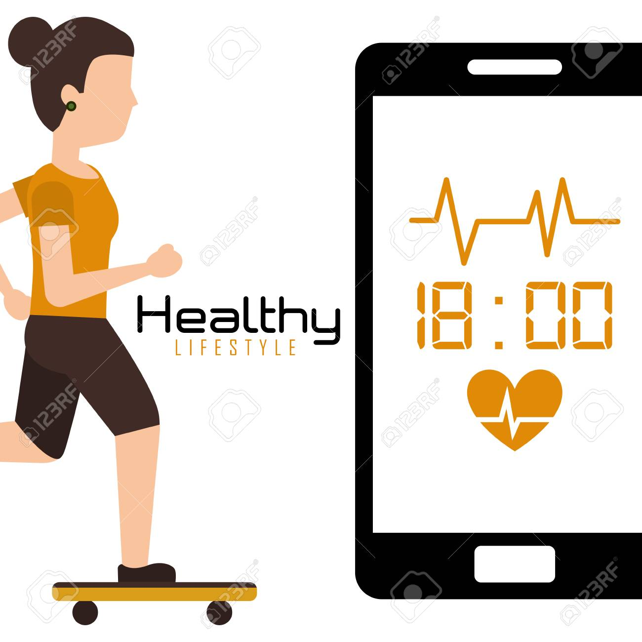 40e497ce young woman in skateboarding mobile with heart rate healthy lifestyle  vector illustration Stock Vector - 96196870