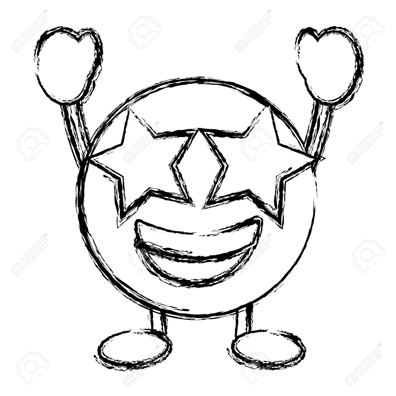 Emoticon Cartoon Face Happy Star Eyes Character Vector Illustration