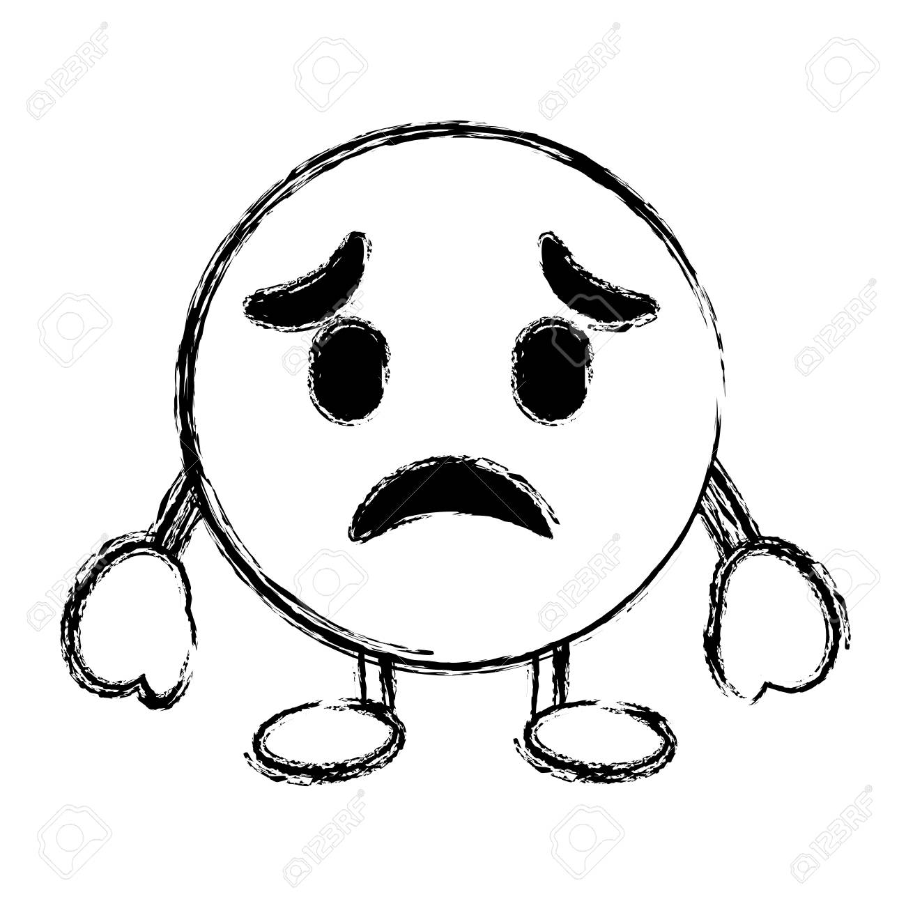 Purple emoticon cartoon face sad character vector illustration sketch image stock vector 96314352