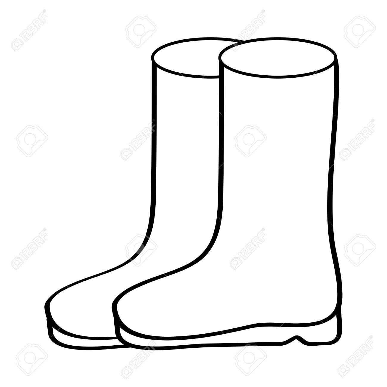 pair rubber boots clothes winter season fashion vector illustration outline design - 96527846