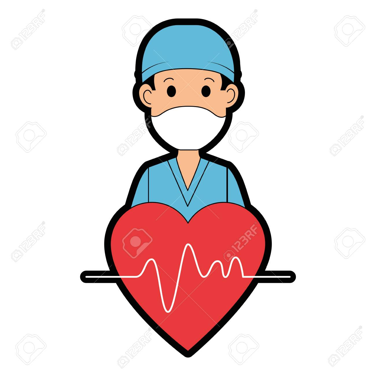 surgeon doctor with heart avatar character icon vector illustration design - 96428901