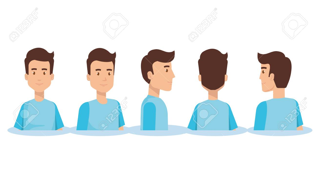 Set of young man facing different directions vector illustration design. - 96609795