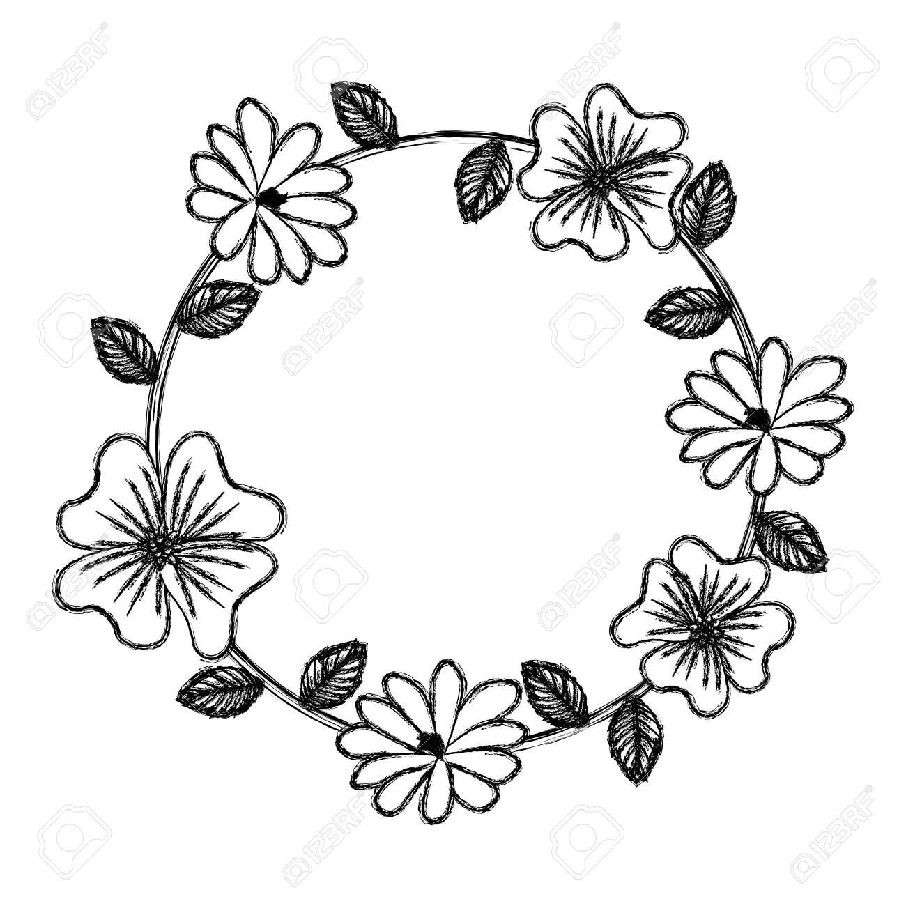 floral wreath leaves decoration natural vector illustration sketch