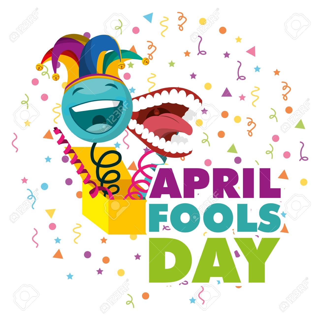 april fools day - surprise emoticon with jester hat and teeth vector illustration - 96493311