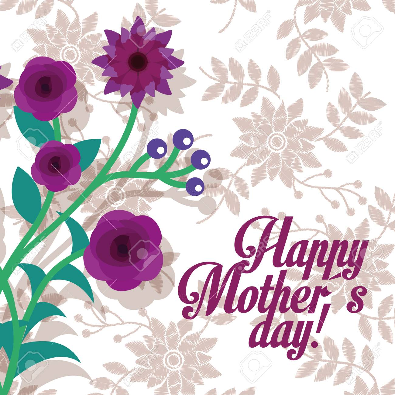Purple Flowers Leaves Berries Decoration Happy Mothers Day Floral