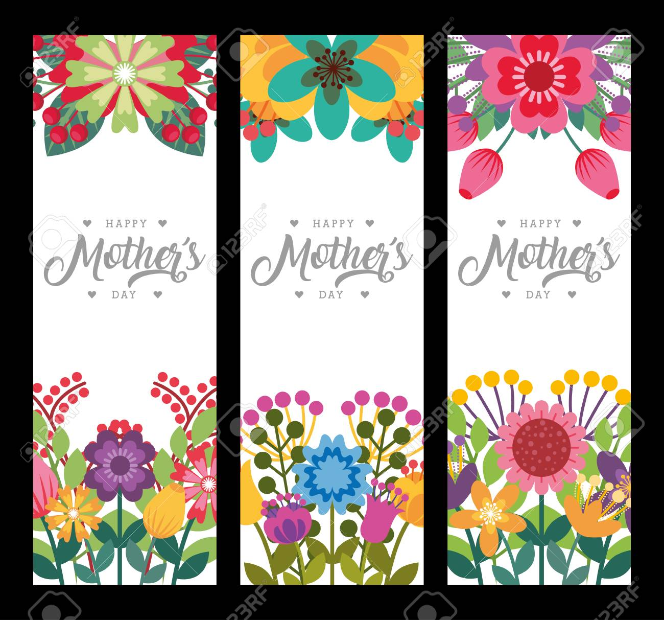 happy mothers day vertical banners delicate romantic flowers decoration vector illustration - 96503977