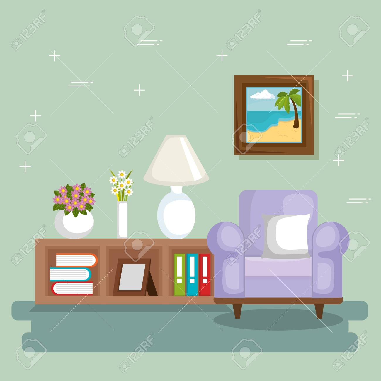 225 & elegant living room scene vector illustration design