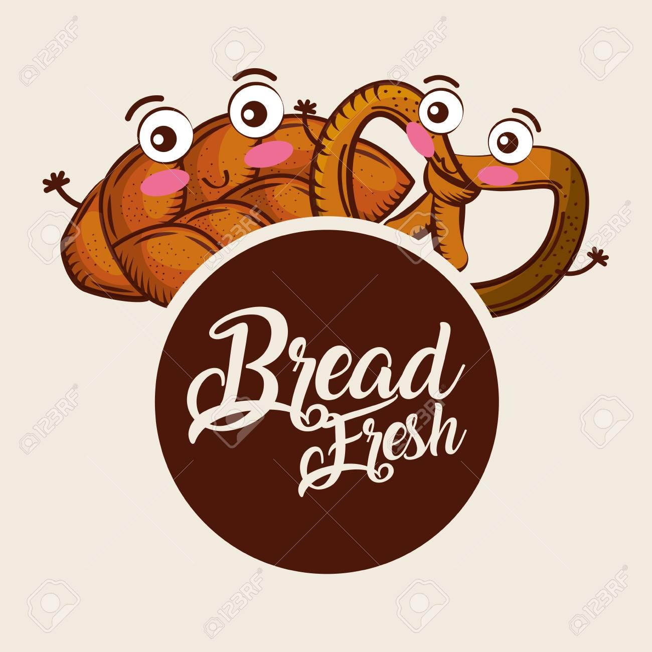 bread fresh whole pretzel cartoon food label vector illustration