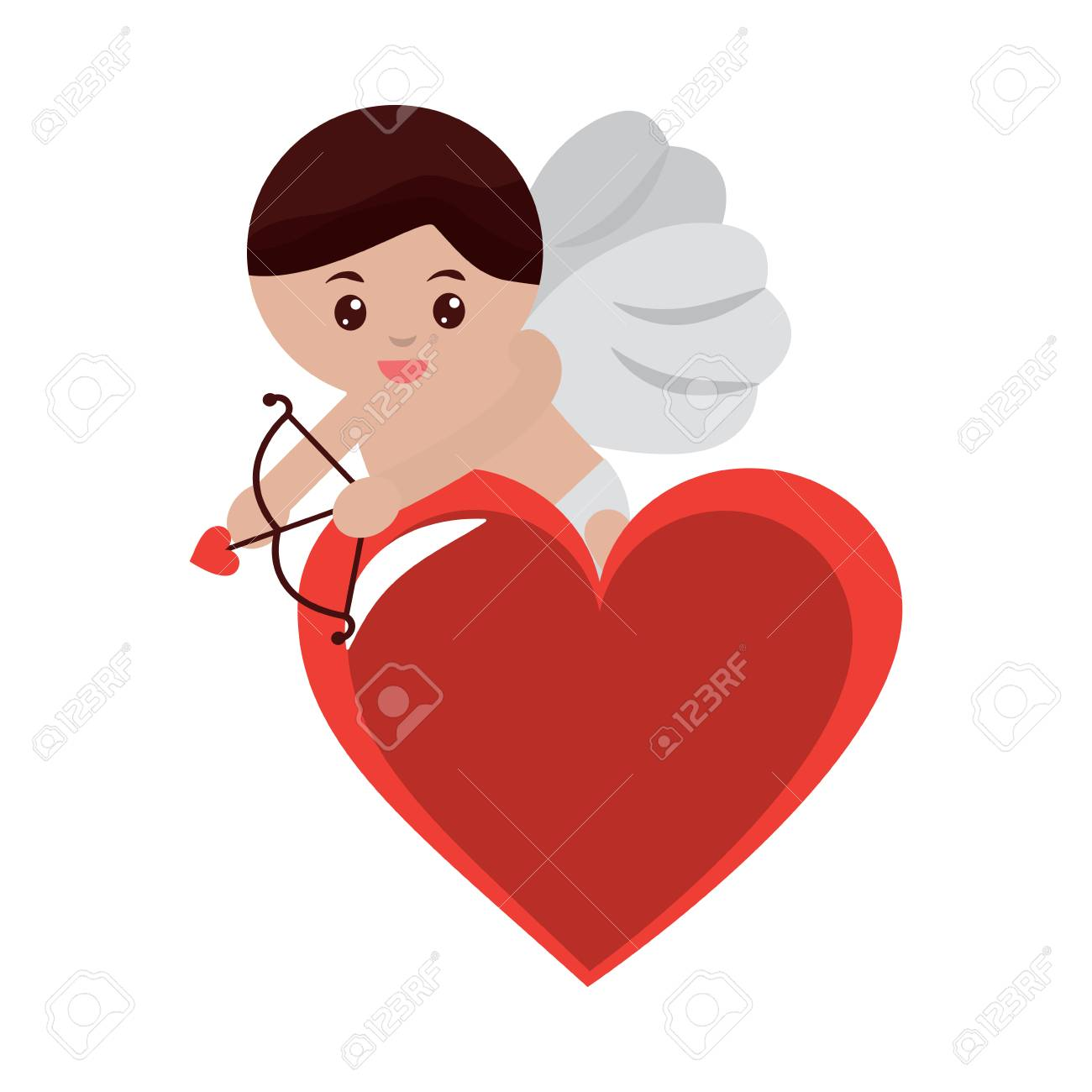 Cupid Holding Bow And Arrow On Heart Valentines Day Icon Image