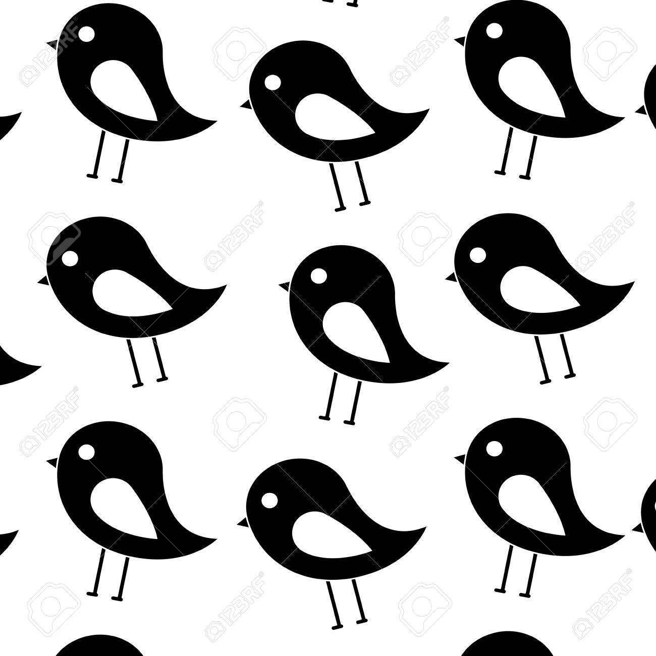 Oiseau Dessin Animé Oiseau Motif Image Conception Vecteur Noir Et Blanc