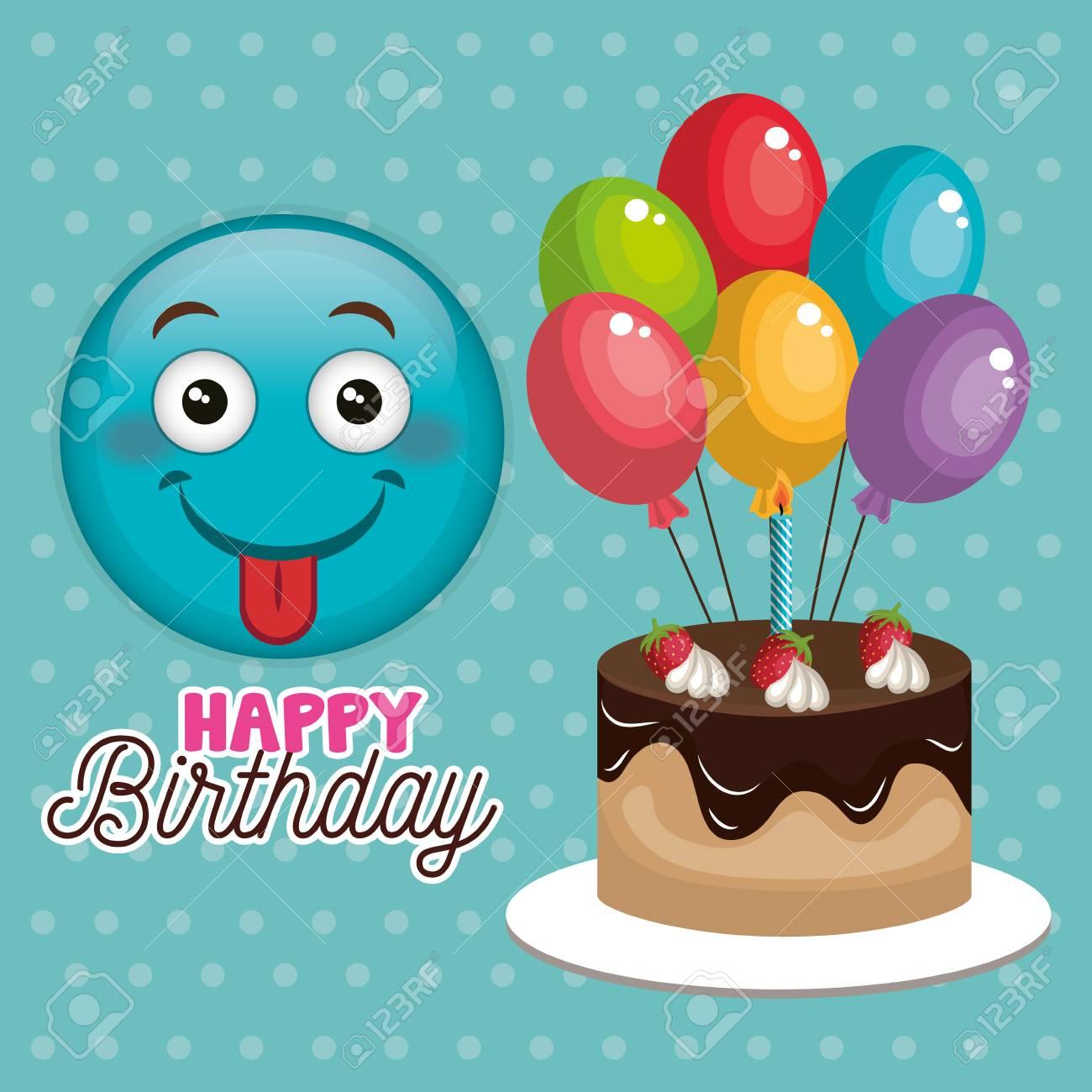 Sensational A Happy Birthday Card With Emoticon Vector Illustration Design Funny Birthday Cards Online Amentibdeldamsfinfo
