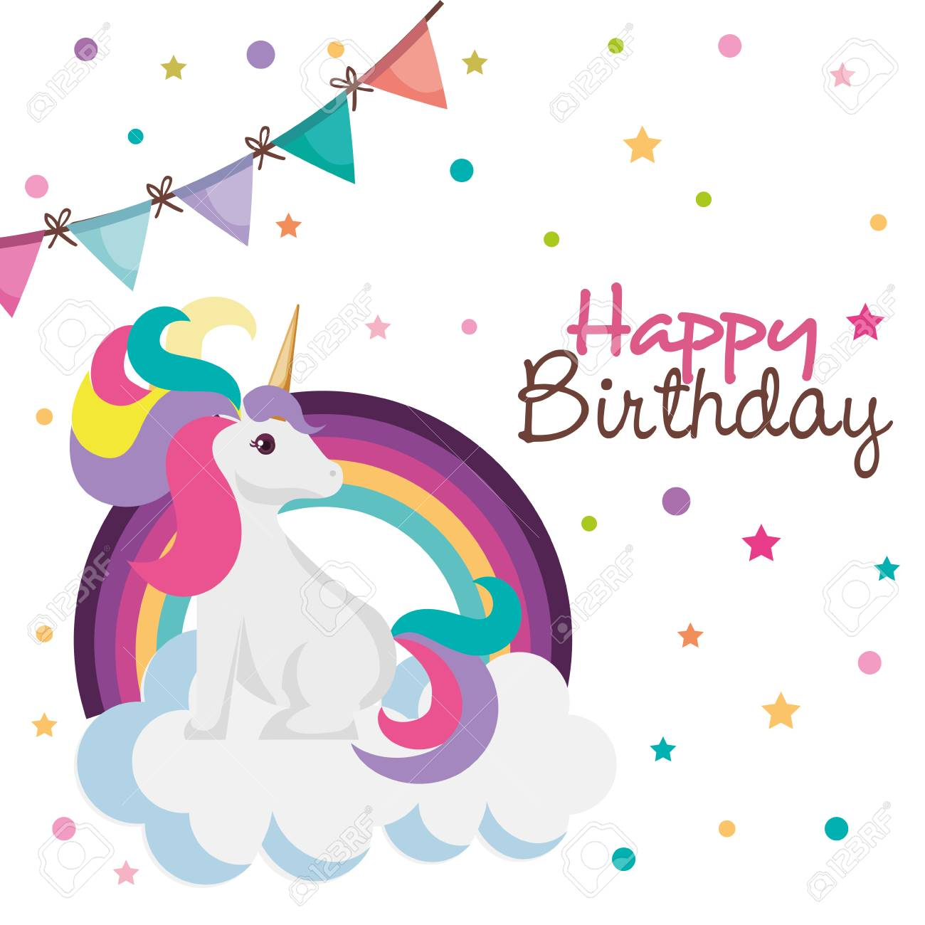Happy Birthday Card With Unicorn Character Vector Illustration Design Stock