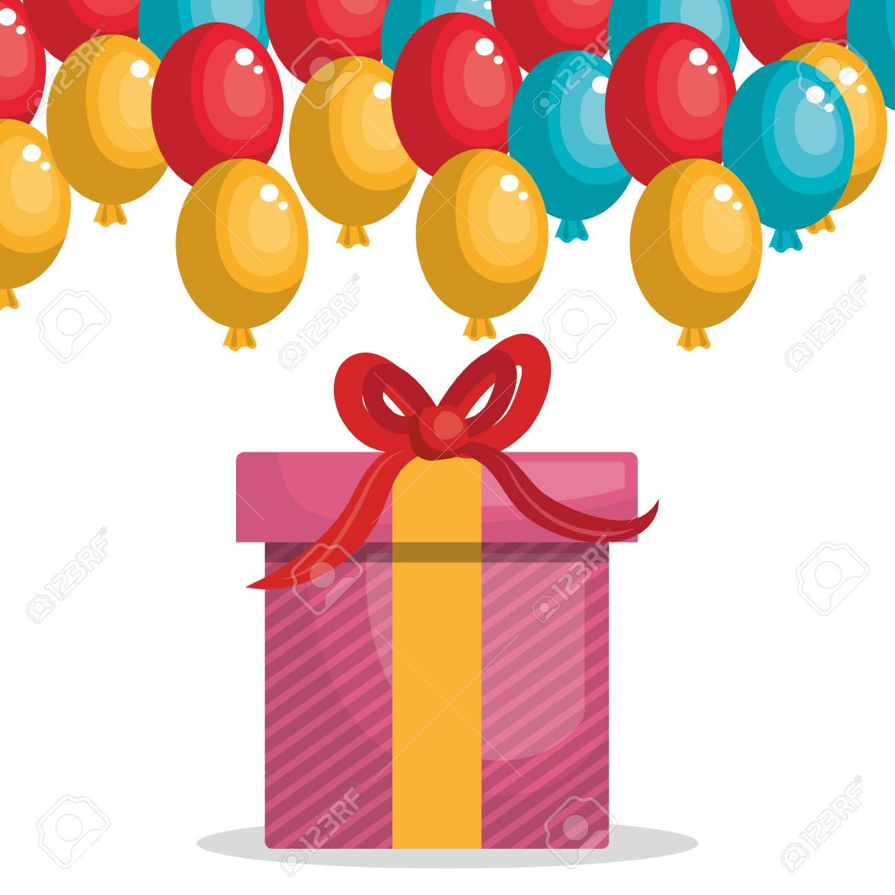 Happy Birthday Card With Giftbox Vector Illustration Design Stock