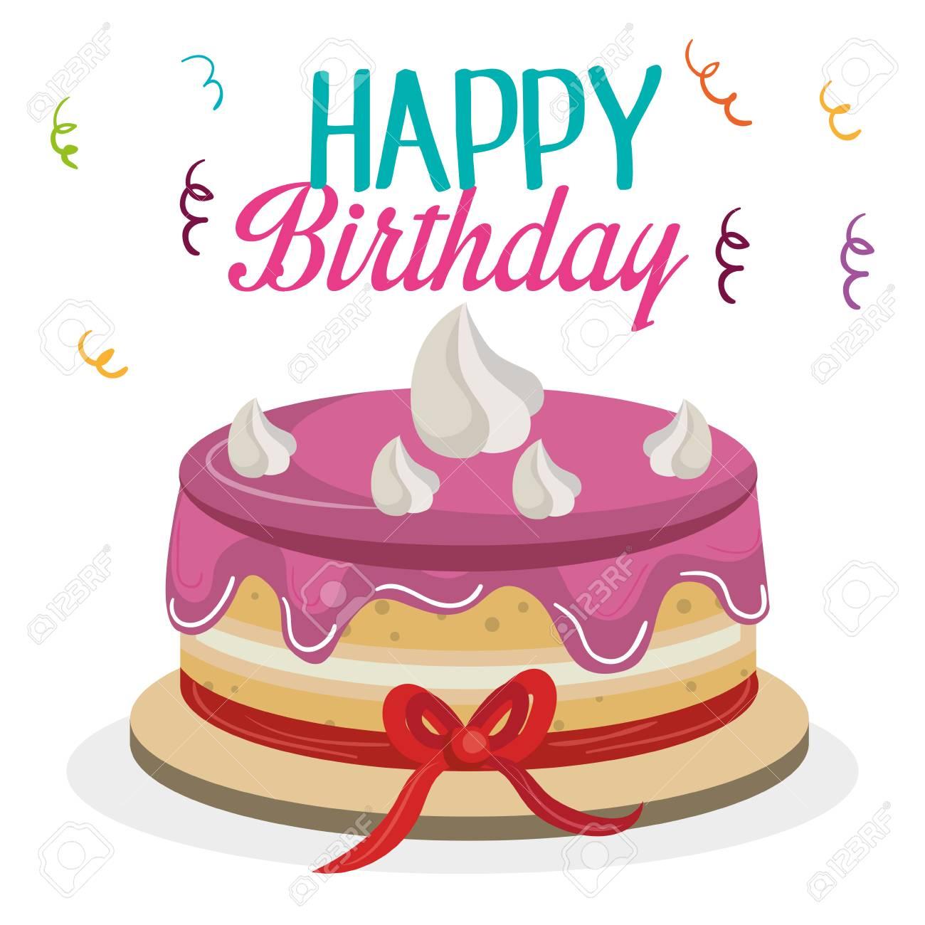 Awe Inspiring Happy Birthday Card With Sweet Cake Vector Illustration Design Funny Birthday Cards Online Benoljebrpdamsfinfo