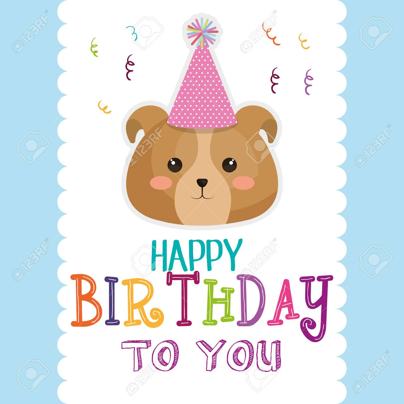 Happy Birthday Card With Dog Vector Illustration Design Stock