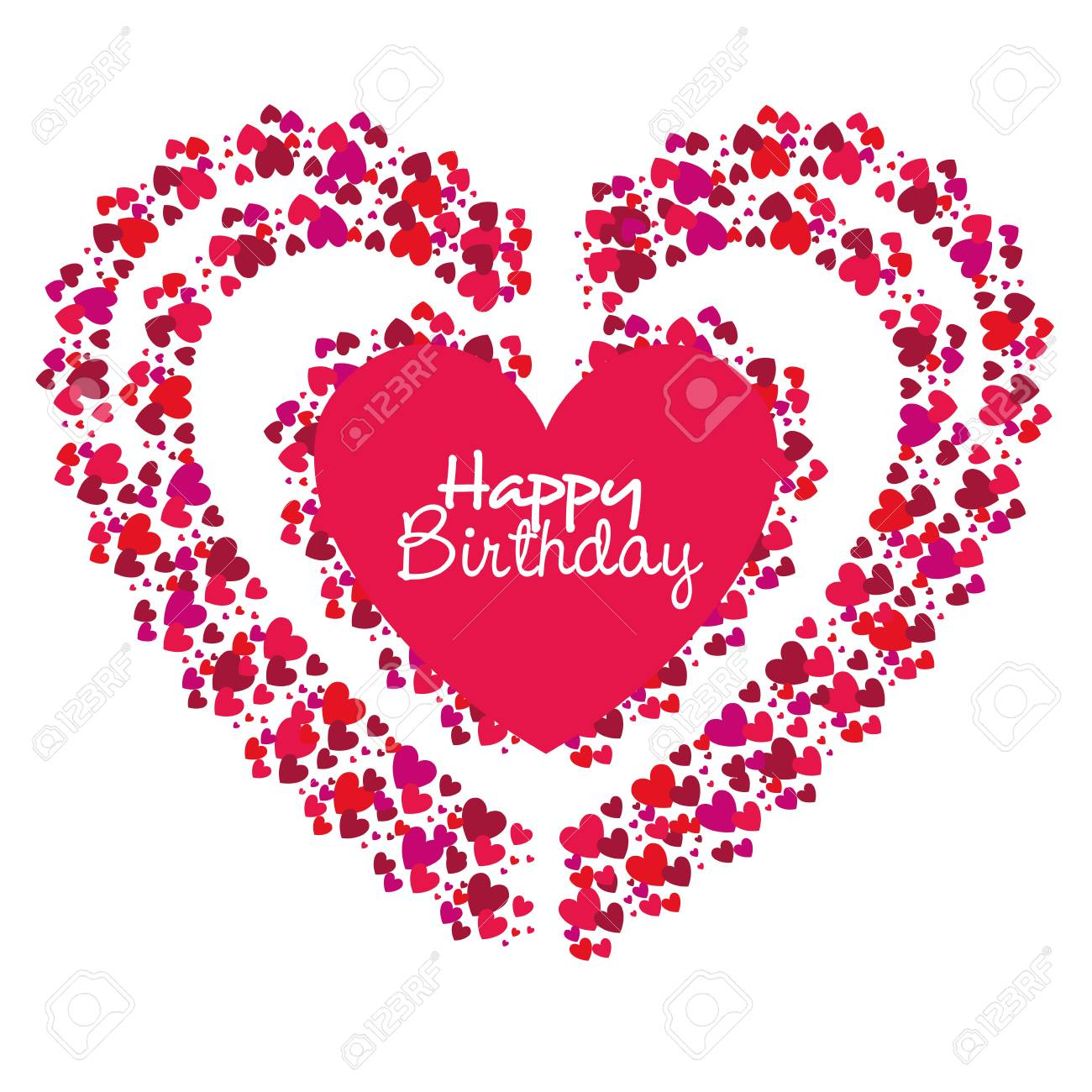 Happy Birthday Card With Heart Love Vector Illustration Design Stock