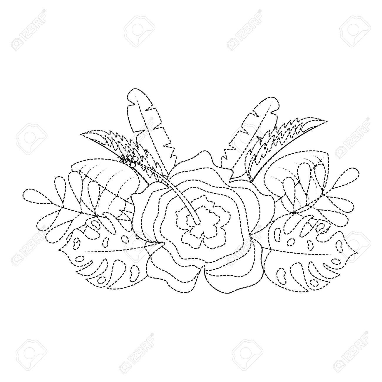 Flower Natural Decoration Arrangement Leaves Vector Illustration