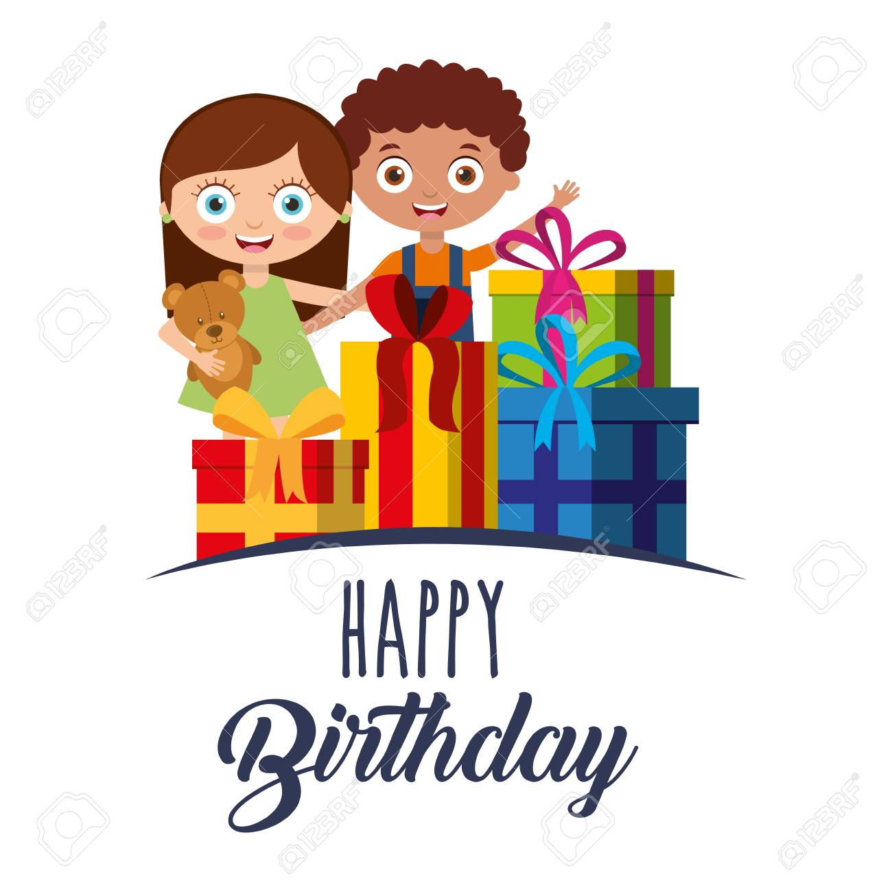 Cute Girl And Boy With Gift Boxes Happy Birthday Card Vector