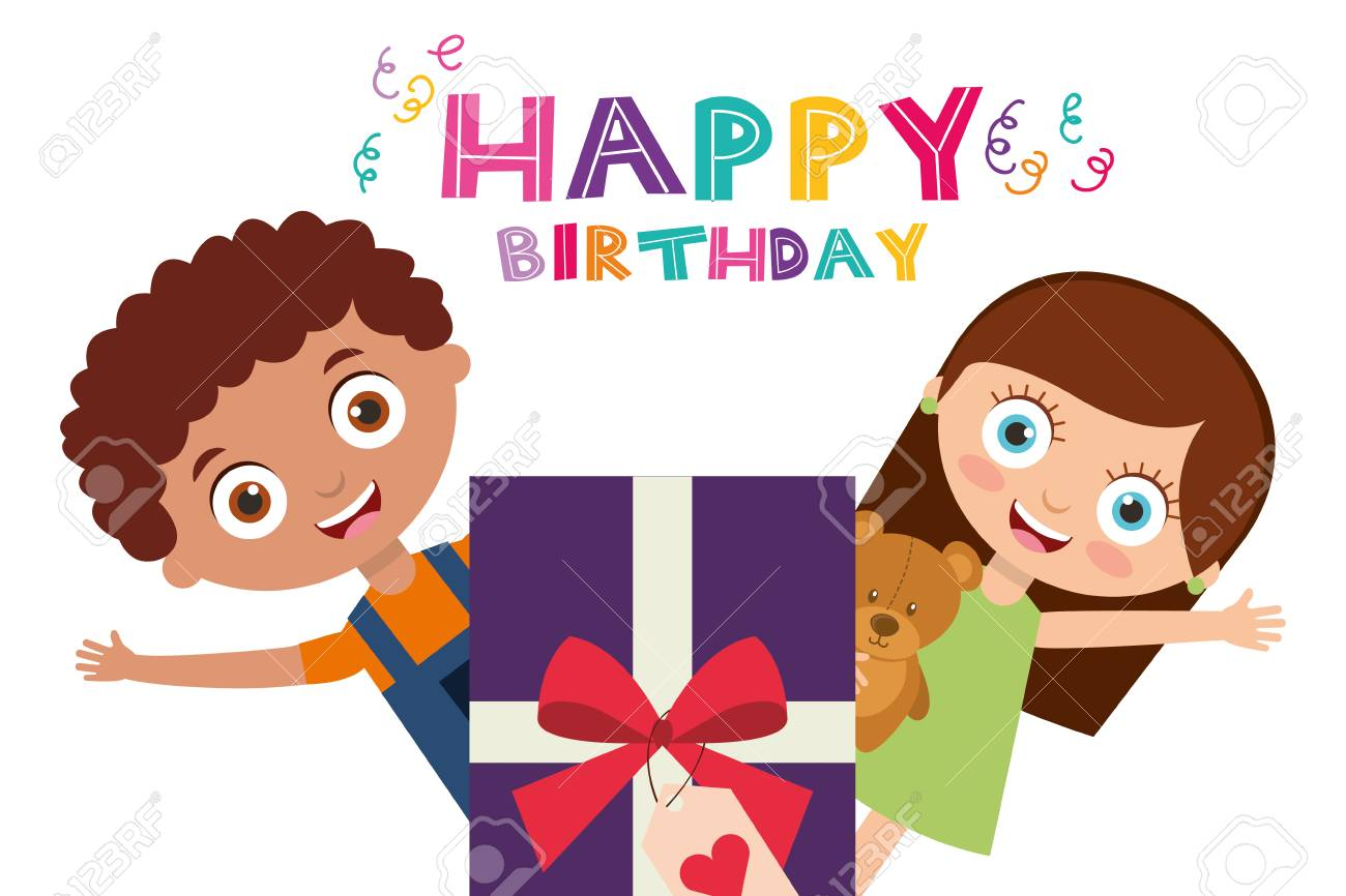 Happy Birthday Card Funny Kids And Purple Gift Box Vector Illustration Stock