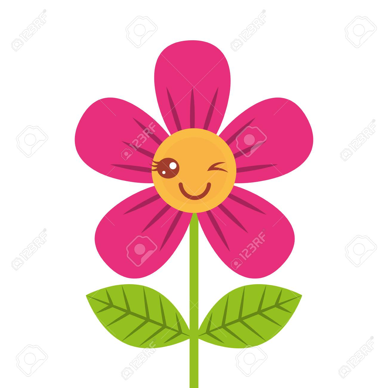 beautiful flower wink cartoon vector illustration - 96803395