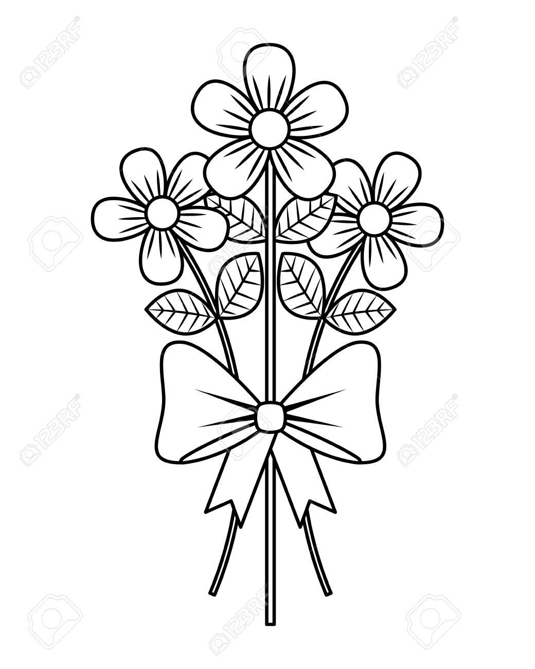 Bouquet Delicate Flowers Wrap Ribbon Bow Decoration Vector ...
