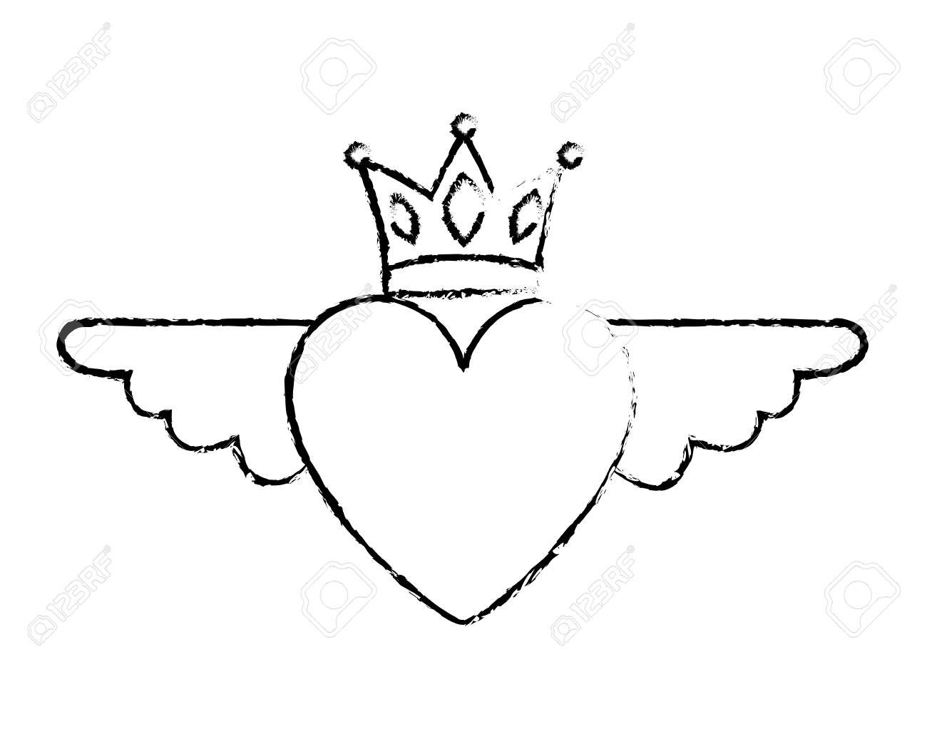 Heart In Love With Wings Crown Decoration Vector Illustration Royalty Free Cliparts Vectors And Stock Illustration Image 96860005