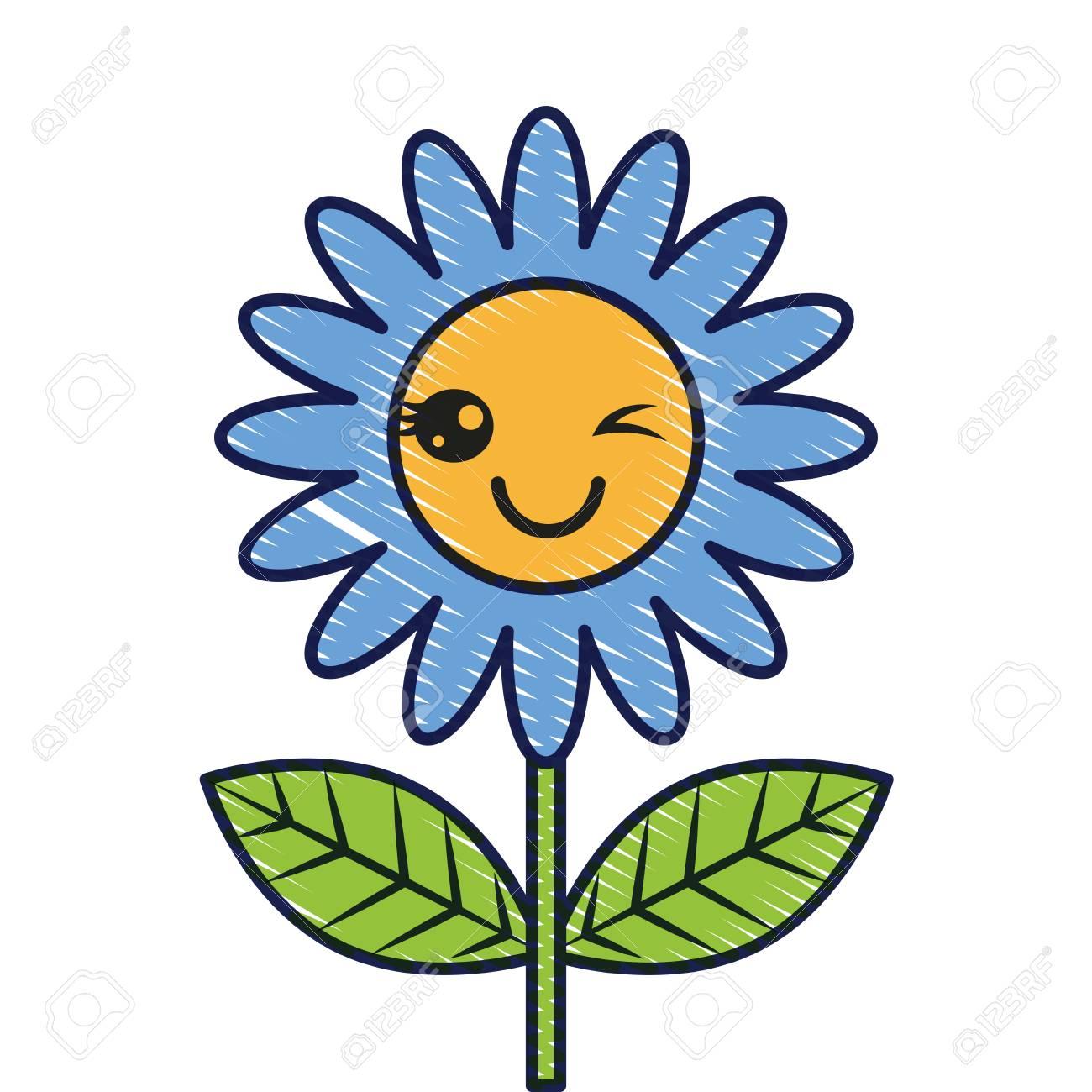 beautiful flower cute cartoon vector illustration