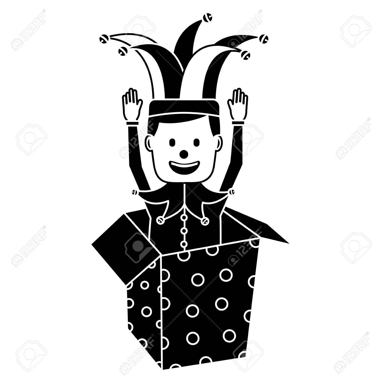 Joker with clown mask in the box prank hands up fools vector illustration black and white