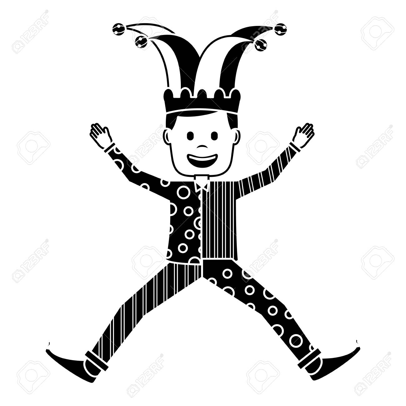 Joker jumping surprise fools day character happy vector illustration black and white image stock vector