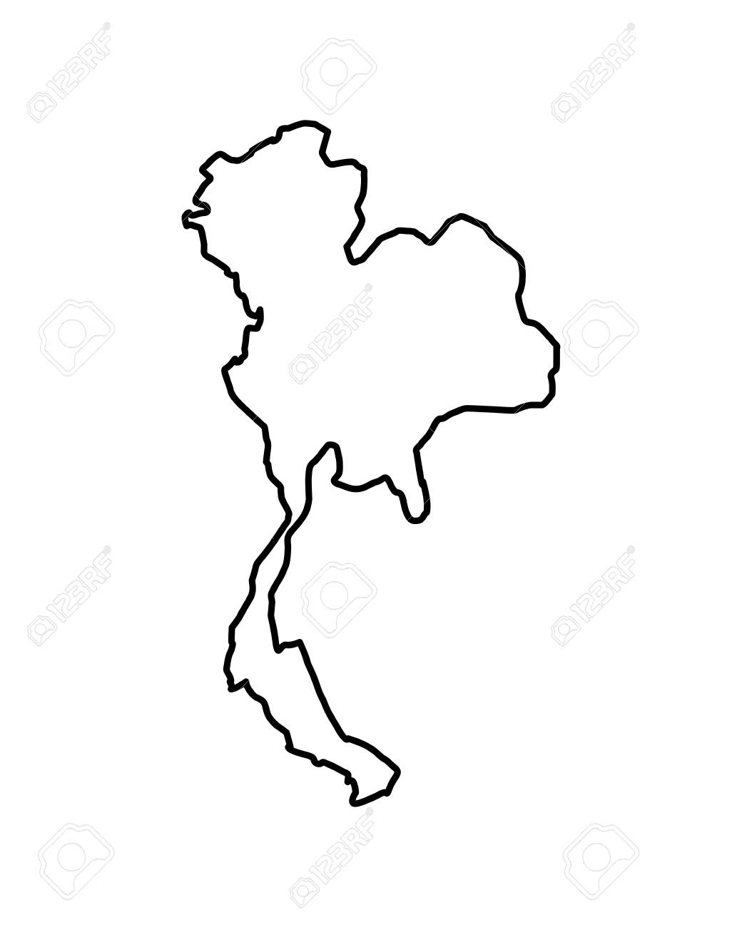 thailand map geography location country vector illustration outline..