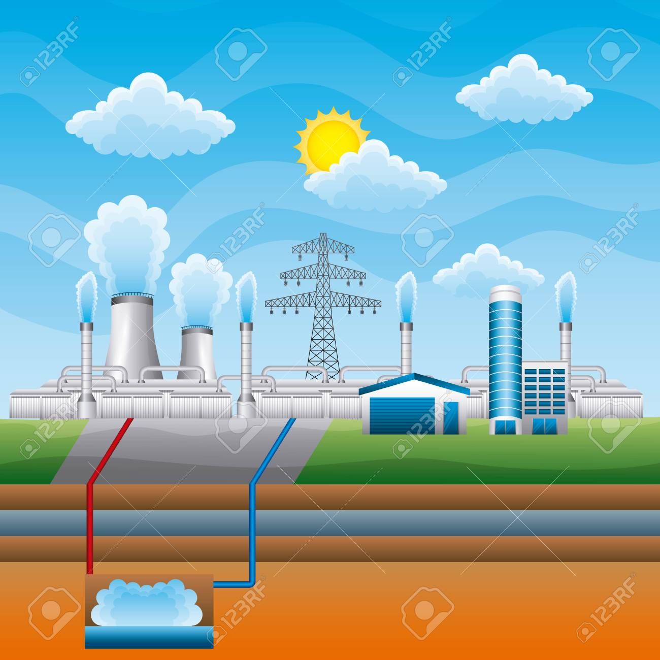 Station geothermal power clean - renewable energy vector illustration - 96899856