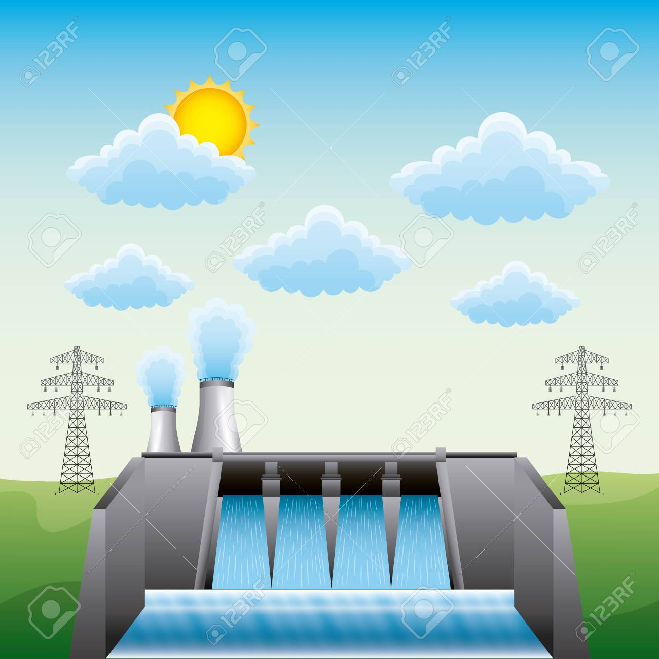Hydroelectric dam nuclear plant and electric pylon - renewable energy vector illustration - 96899378
