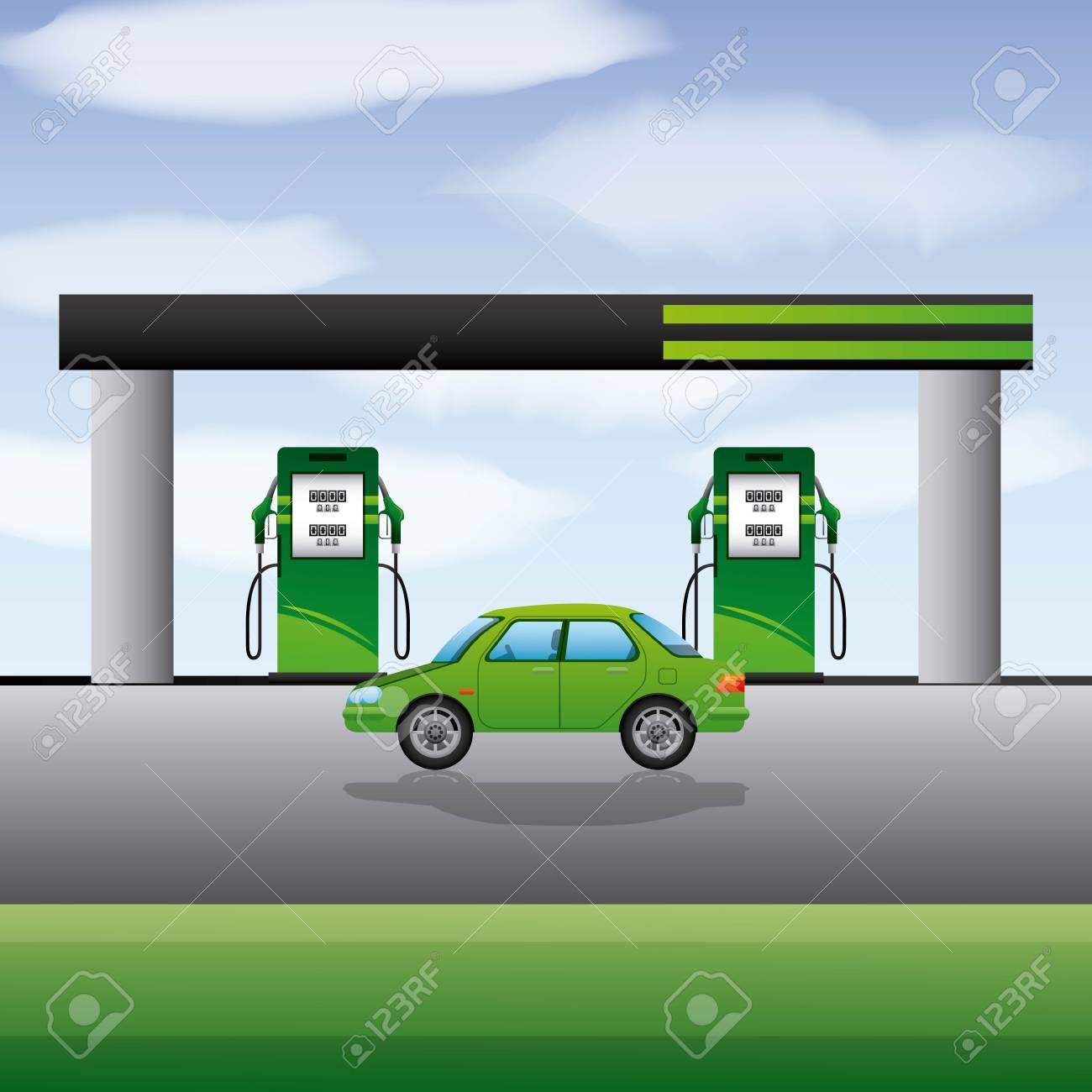 Station gasoline car transport biofuel vector illustration - 96902864