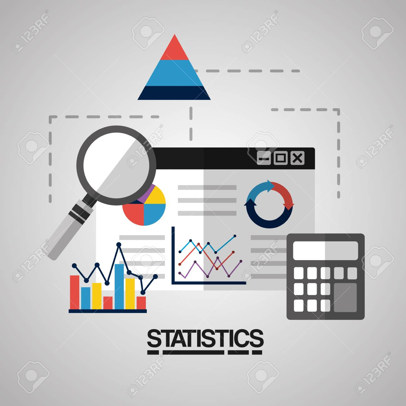 digital business web page calculator and search statistics vector