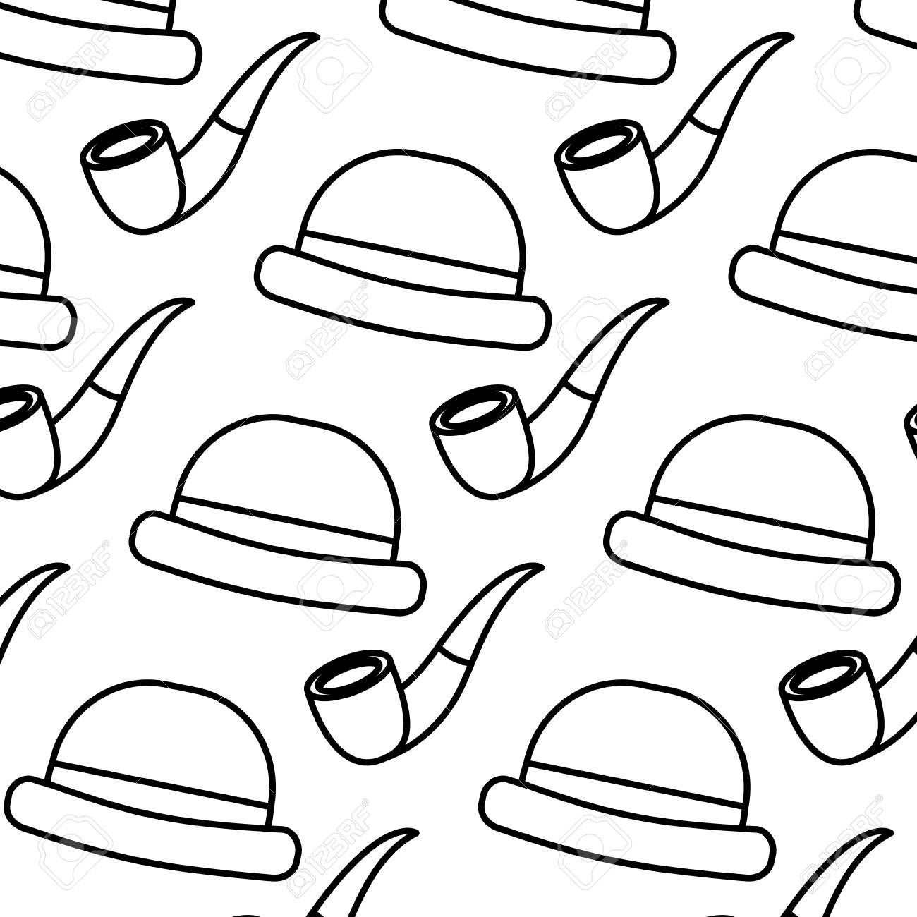 Classic Hat And Tobacco Pipe Hipster Style Wallpaper Vector