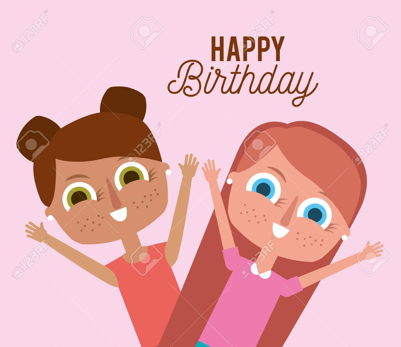 A Happy Birthday Cute Little Girls Smiling Vector Illustration