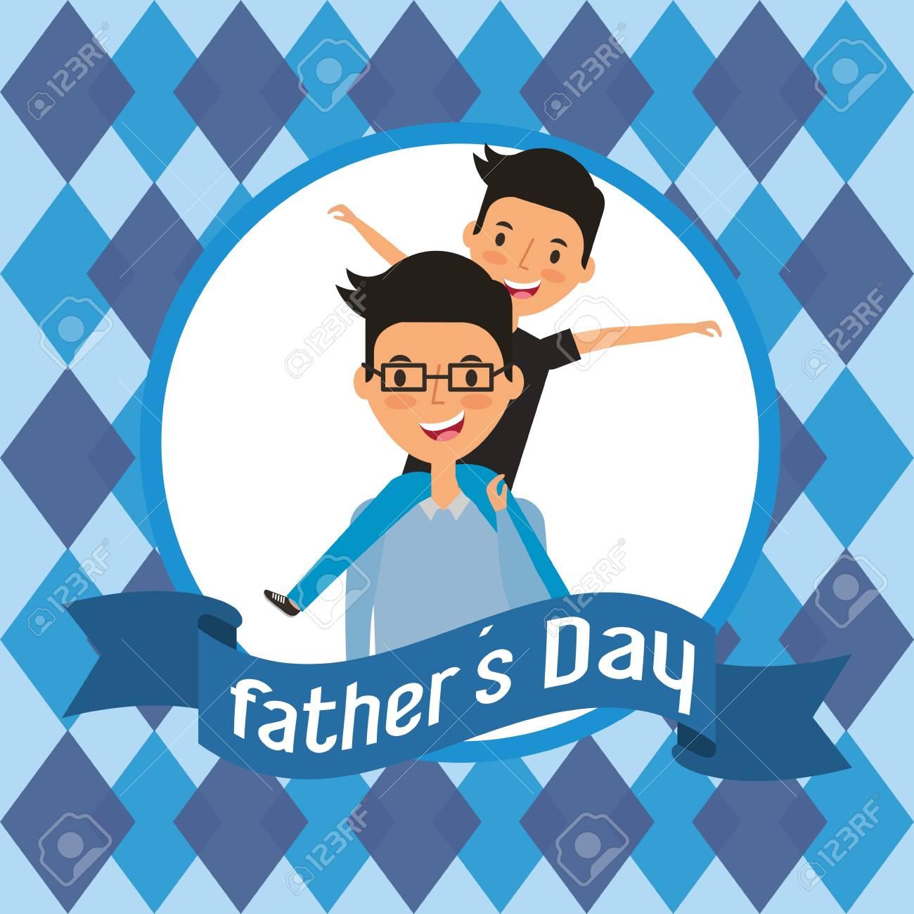 Feliz Día De Padres Padre Sosteniendo Hijo En La Ilustración De