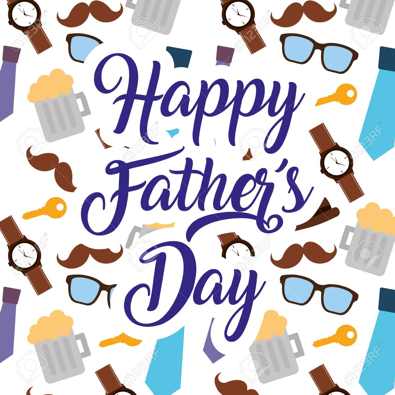 Happy Fathers Day Pattern Decoration Mustache Glasses Bow Tie