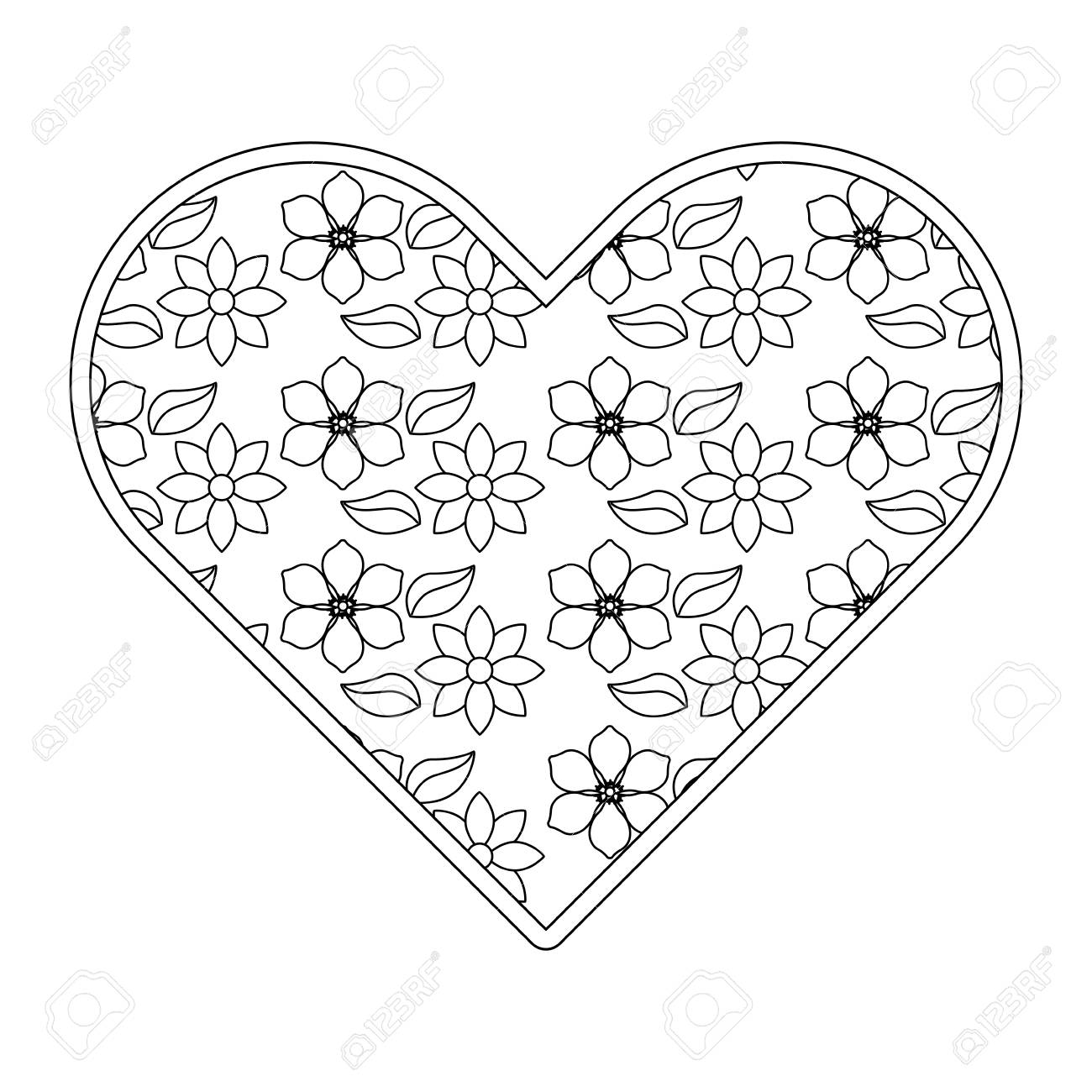 Delicate Heart With Jasmine Flower Decoration Vector Illustration