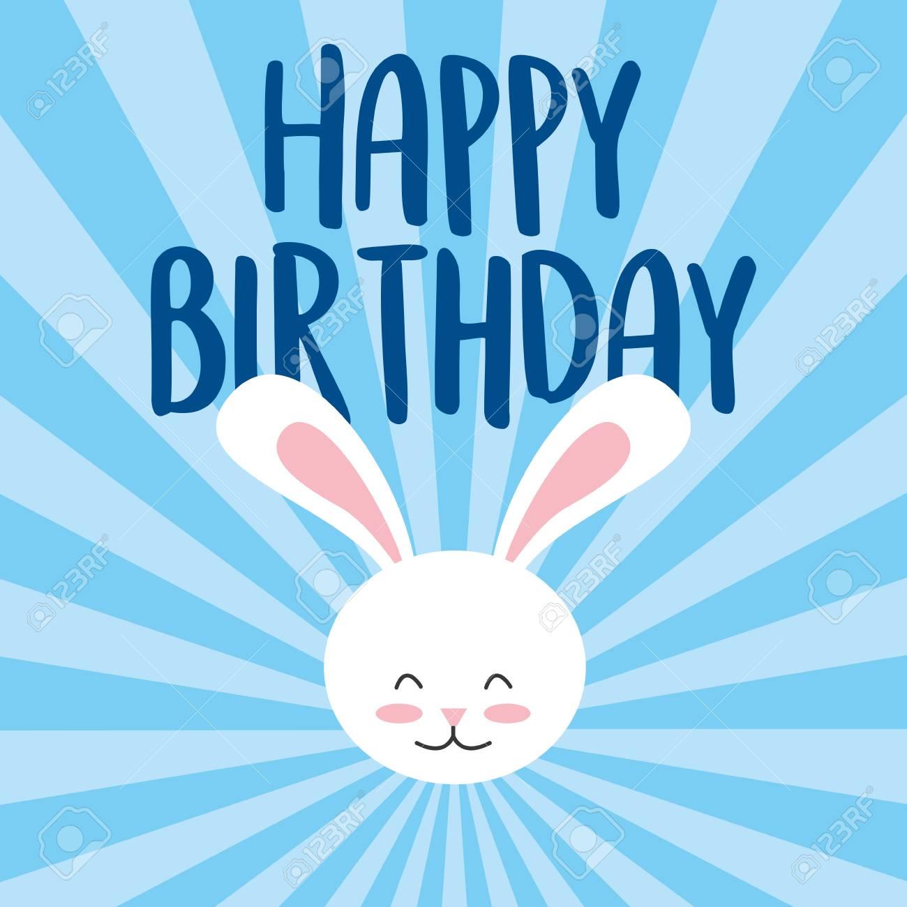 Happy Birthday Card Invitation Celebration Cute Rabbit Head Vector Illustration Stock