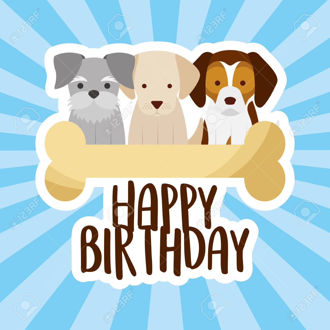 Happy Birthday Card Three Dogs And Bone Vector Illustration Stock