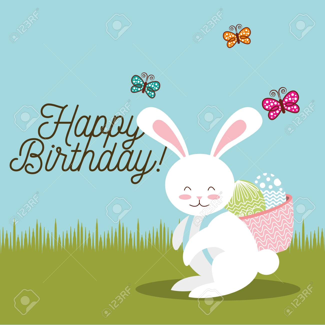 Happy Birthday Card Sweet Bunny With Basket Easter Eggs In Back Vector Illustration Stock