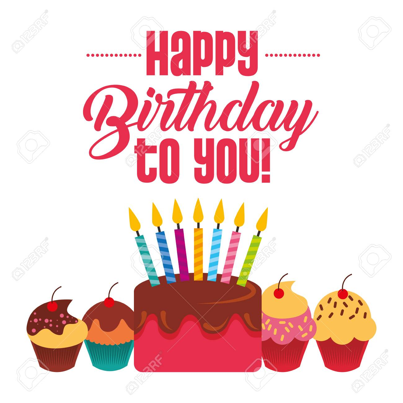 happy birthday to you cake cupckae with candles celebration card vector illustration - 97336547