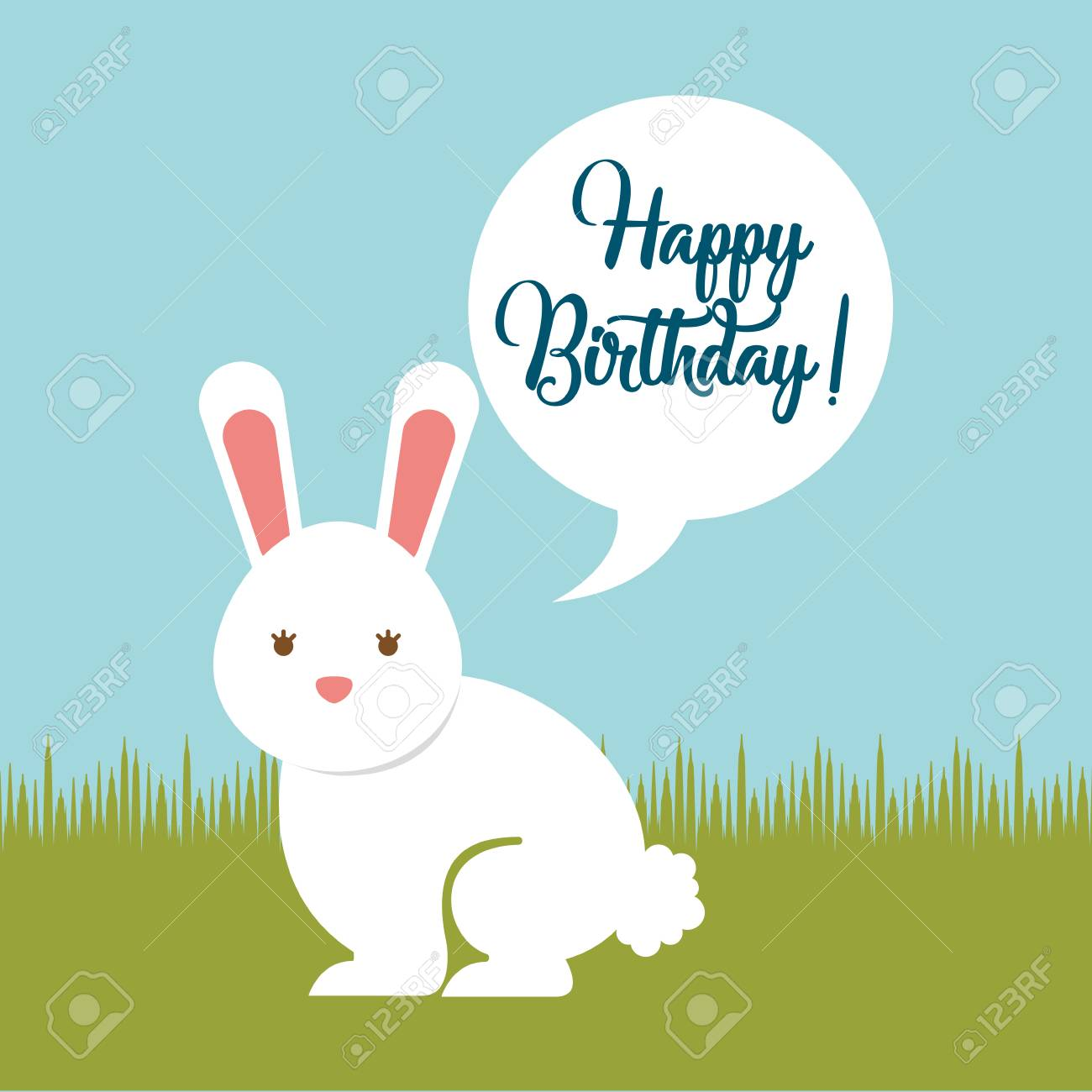 Happy Birthday Card White Rabbit Sitting In Field Vector Illustration Stock