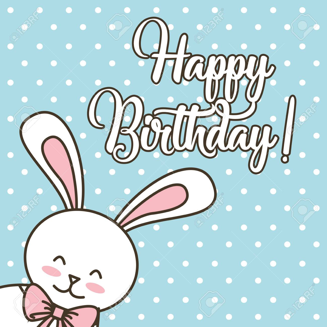 Happy Birthday Card Cartoon Cute Bunny With Bow Vector Illustration Stock