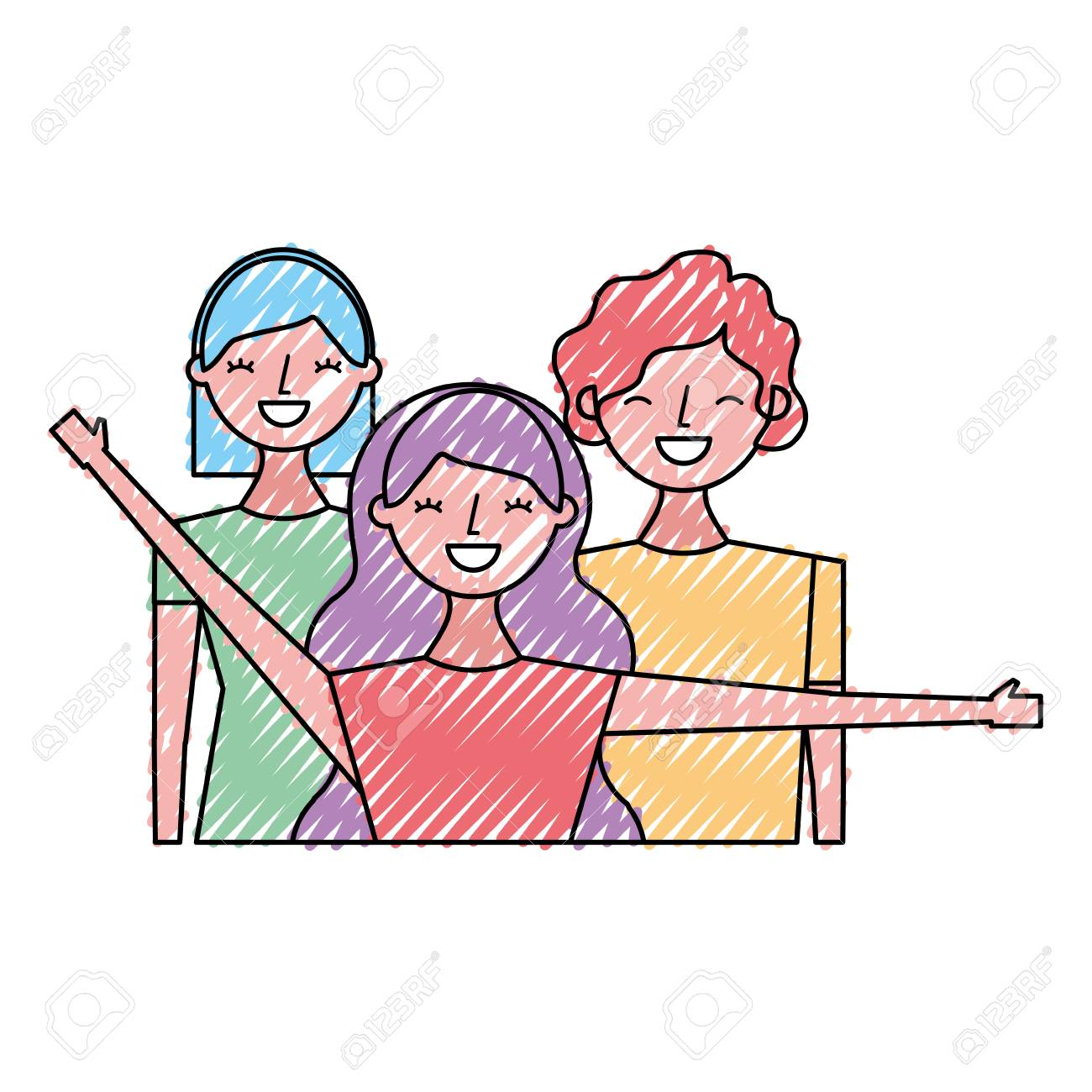 Group Of Three Happy Friends Boys And Girls Cartoon Vector