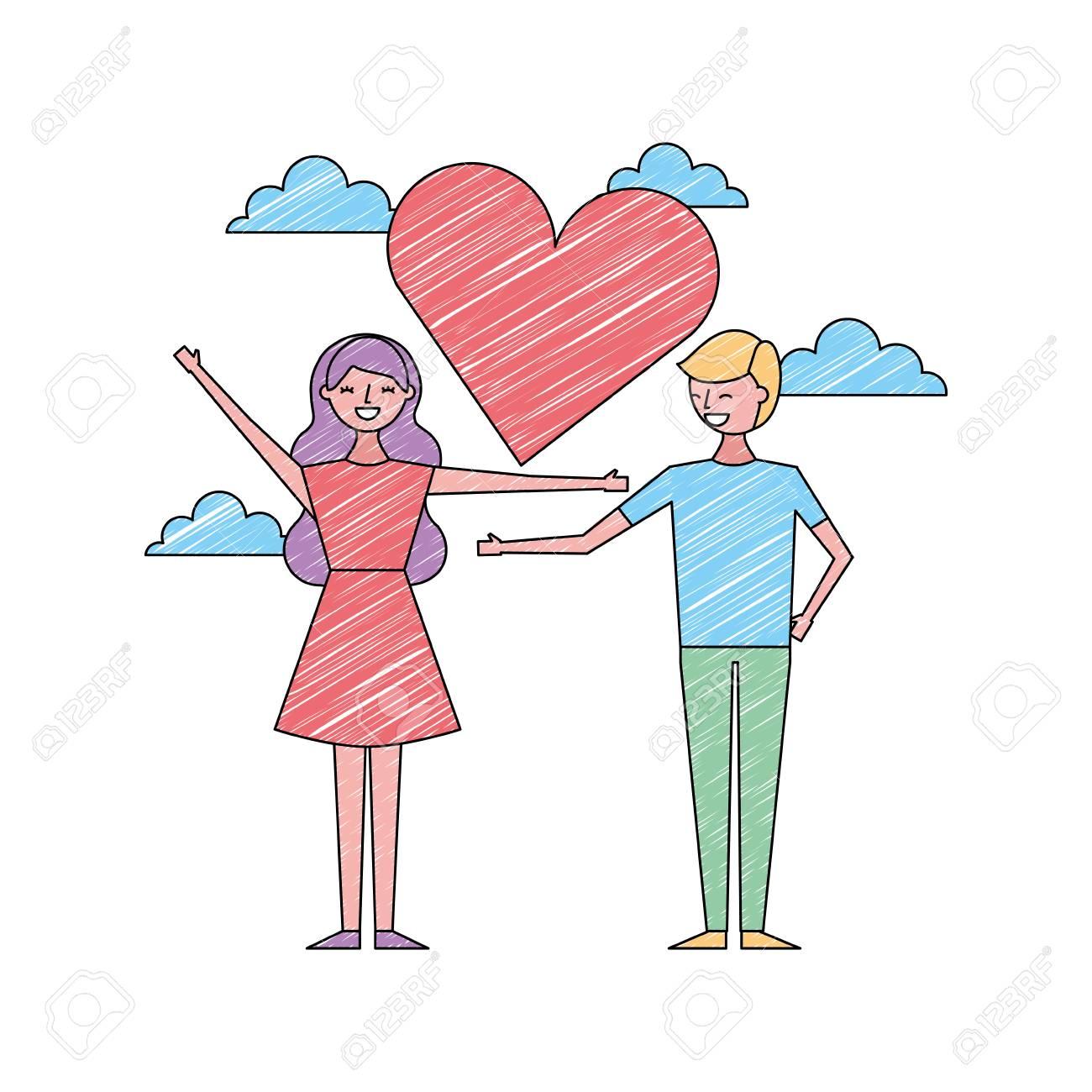 Couple De Jeunes Dans Le Coeur D 39 Amour Romantique Couleur Vecteur De Conception De Dessin Animé