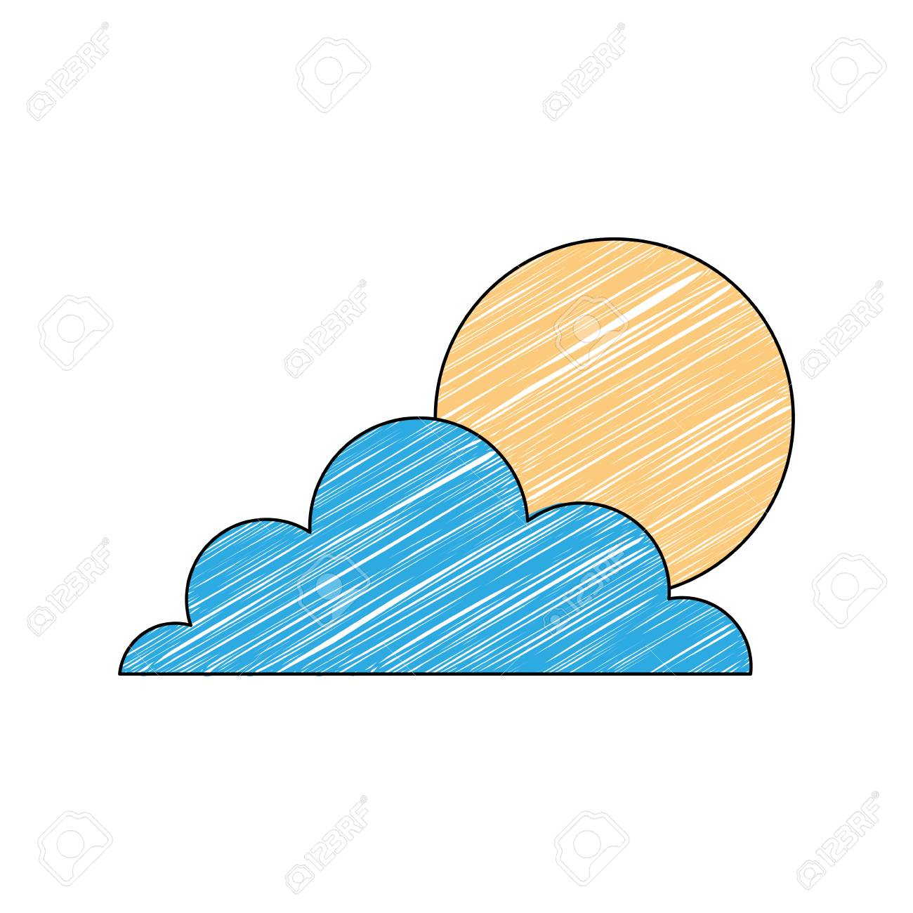 Weather Summer Season Sun Clouds Day Vector Illustration Drawing