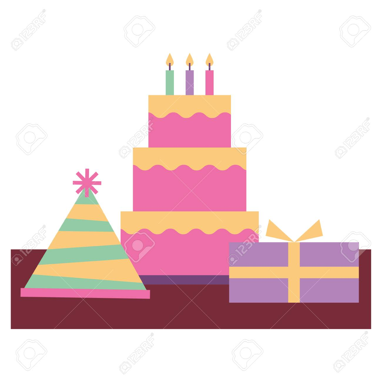 Birthday Cake And Gift Boxes Celebration Vector Illustration Royalty