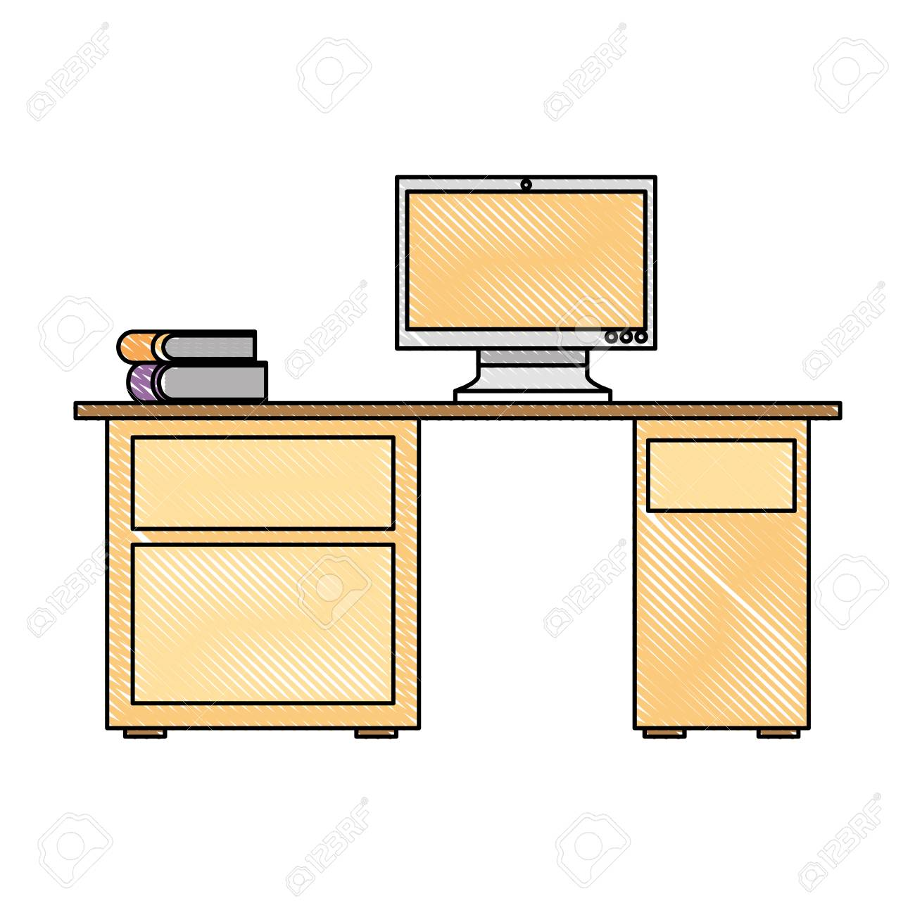 Super Office Desk With Computer And Stack Books Vector Illustration Download Free Architecture Designs Ogrambritishbridgeorg